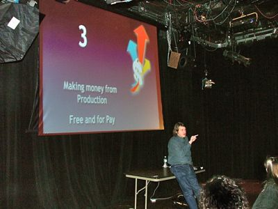 Philip presents &quot;Monetizing your audience&quot; to a group in New York.