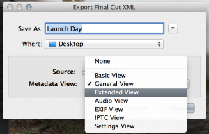 Final Cut Pro X's XML metadata view