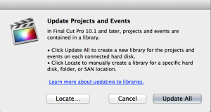 "You'll see this dialog the first time FCP X 10.1 ""sees"" a new drive, or select it from the File menu."